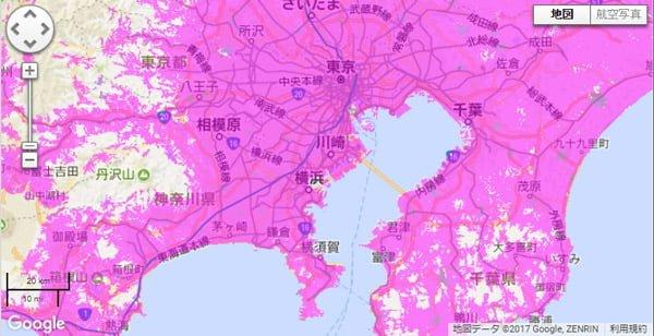 WiMAXサービスエリアマップ