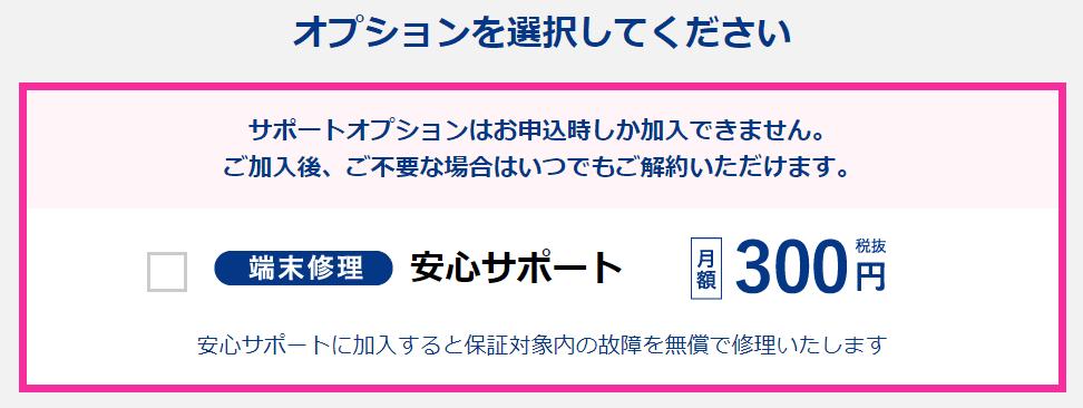 カシモWiMAXオプション選択