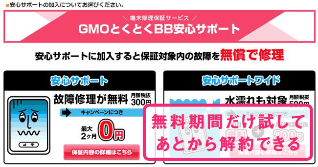 GMOとくとくBB WiMAX 2+ 申し込み契約 オプション選択