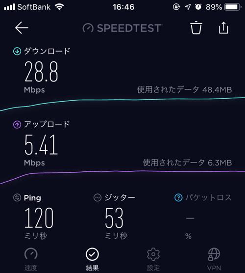 WX05スピードテスト