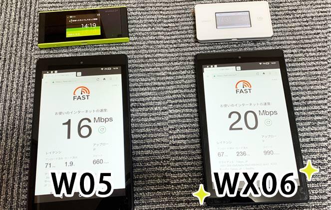 WX06 W05 通信速度 比較